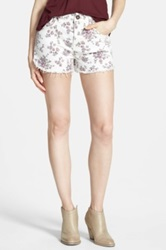 Fire Floral Print Cutoff Shorts Juniors White