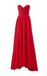 Romona Keveza Strapless Sweetheart Ball Gown Red