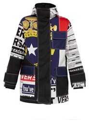 Versace Bandiera And Tabloid Print Technical Jacket Multi