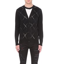Alexander Mcqueen Argyle Check Wool And Mohair Blend Cardigan Black Black Ivory
