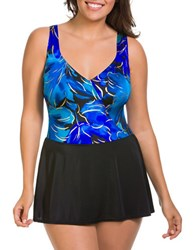 Longitude Floral Printed Swimdress Blue