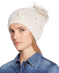 Echo Beanie With Asiatic Raccoon Fur Pom Pom 100 Bloomingdale's Exclusive White