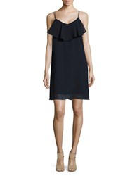 Vero Moda Ruffled Chiffon Shift Dress Navy Blazer