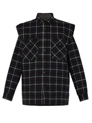 Balenciaga Padded Denim And Flannel Overshirt Black