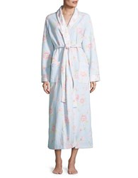 Carole Hochman Quilted Floral Robe Blue