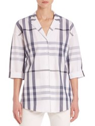 Lafayette 148 New York Anale Plaid Button Front Blouse Blue White