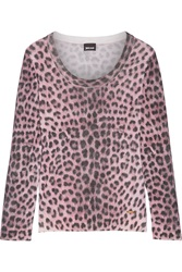 Just Cavalli Leopard Print Wool Sweater Pink
