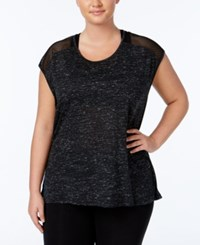 Material Girl Active Plus Size Mesh Trim Top Only At Macy's Noir