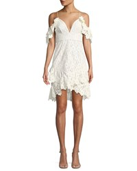 Saylor Dana Painted Lace Cold Shoulder Mini Dress White