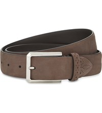 Canali Solid Suede Belt Brown