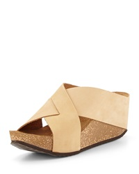 Neiman Marcus Made In Italy Margery Nubuck Wedge Sandal Camel