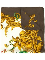Christian Dior Vintage Baroque Print Scarf Brown