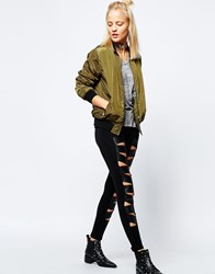 Tripp Nyc Leather Look Insert Cut Out Leggings Black