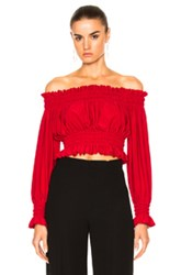 Norma Kamali Cropped Peasant Top In Red