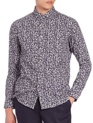 Kent And Curwen Floral Cotton Sportshirt Navy White