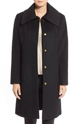 Petite Women's Cole Haan Signature Single Breasted Wool Blend Coat Black