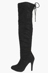 Boohoo Stretch Over Knee Pointed Boot Black