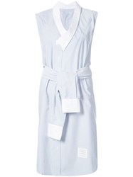 Thom Browne Reconstructed Sleeveless Wrap Shirtdress In Light Blue Oxford Cotton