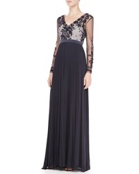 Catherine Deane Summer Long Sleeve Embroidered Gown Navy Navy
