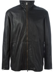 Diesel Black Gold Zipped Leather Jacket Black