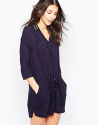 See U Soon Shirt Dress With Embellished Collar Navy