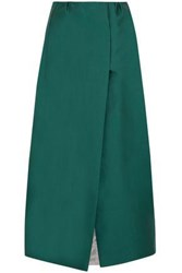 Merchant Archive Duchesse Satin Midi Skirt Teal