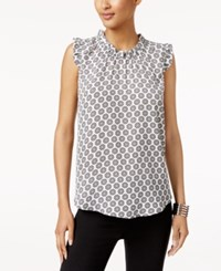 Cable And Gauge Ruffled Floral Print Top Black White Print
