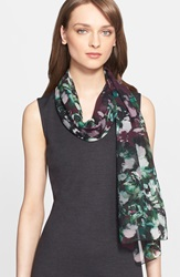 St. John Floral Print Silk Georgette Scarf Mulberry Multi
