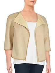 Lafayette 148 New York Wool And Cashmere Open Front Jacket Sand Ginger