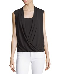 Bcbgmaxazria Sleeveless Draped Surplice Top Black