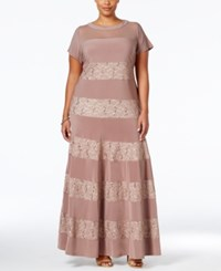 R And M Richards Plus Size Sequined Lace Striped Gown Taupe Ivory