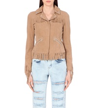 Karen Millen Statement Fringed Leather Jacket Cream