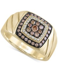 Effy Collection Effy Men's Brown And White Diamond Ring 5 8 Ct. T.W. In 14K Gold