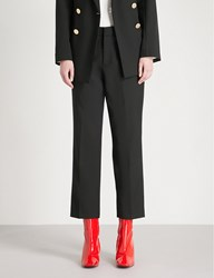 Moandco. Straight Cropped Wool Blend Trousers Black
