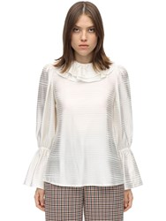 Tory Burch Ruffled Collar Satin Jacquard Blouse Ivory