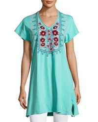 Johnny Was Floral Embroidered Asymmetric Tunic Light Green