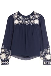 Rebecca Minkoff Truman Embroidered Silk Georgette Top Blue