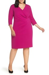 Tahari Plus Size Ruched Surplice Crepe Sheath Dress Magenta