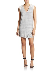Autograph Addison Striped Eyelet Detailed Shift Dress Heather Grey