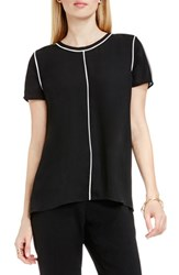 Vince Camuto Women's Piped Detail Short Sleeve Blouse Rich Black