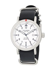 Filson Stainless Steel Leather Strap Watch Black