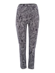 Tigi Leaf All Print Trousers Navy