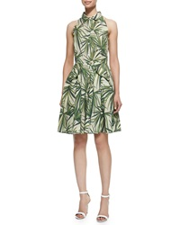 Elle Sasson Alohi Palm Leaf Print Dress Green Leaves