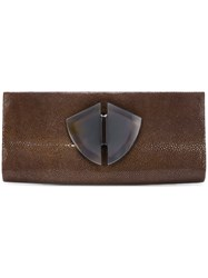 Giorgio Armani Vintage Emebellished Envelope Clutch Brown