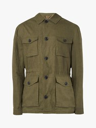Jaeger Four Pocket Linen Field Jacket Khaki