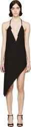 Anthony Vaccarello Black Asymmetric Metal V Neck Dress