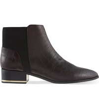 Kurt Geiger Nevern Leather Ankle Boots Wine