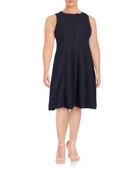 London Times Plus Pintucked Fit And Flare Dress Navy