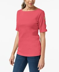 Karen Scott Cotton Cutout Top Created For Macy's Peony Coral