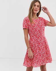 Jack Wills Merriden Fit And Flare Dress In Floral Red